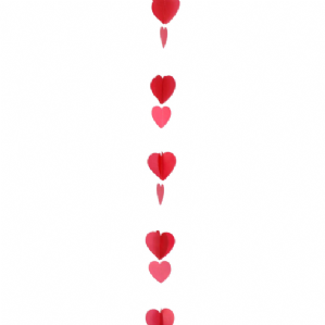 Balloon Tails - Red & White Hearts Balloon Tail (1.2m) | Free Delivery Available
